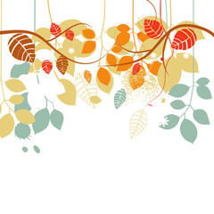 Fall background, tree branches and leaves in bright colors over