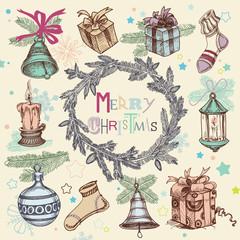 Vintage Christmas vector illustration, fir tree frame wreath and