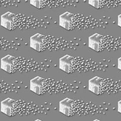 cube that splits into pieces seamless pattern