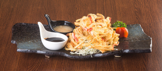 japanese cuisine. tempura. Deep fried mix vegetable on the backg