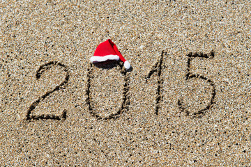 happy new year 2014 with christmas hat on sandy beach