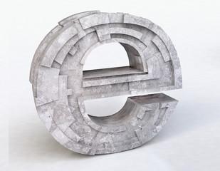 3D Stone Internet Symbol e