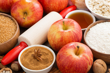 ingredients and spices for apple pie