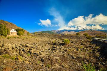 Small house near volcano Etna