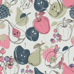Autumn fruits seamless pattern