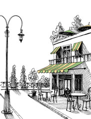 Street view of a retro city restaurant terrace, vector sketch