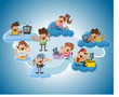 Group of cute happy cartoon people over cloud computing