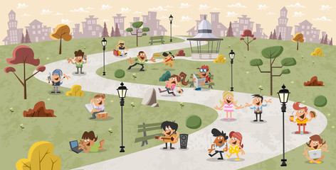 Group of cute happy cartoon people in the park