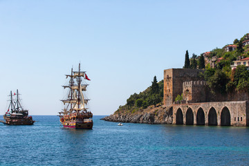 pirate ship on the water of Mediteranean sea, Alanya