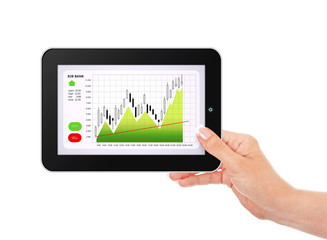 hand holding tablet with stock market chart isolated over white