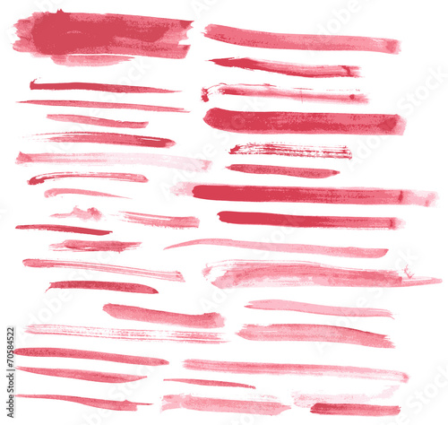 Foto op Aluminium Vormen Watercolor red ink brush strokes vector set