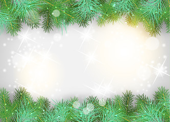 Christmas background with green branches and sparkles