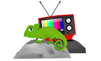 Camaleón y televisor