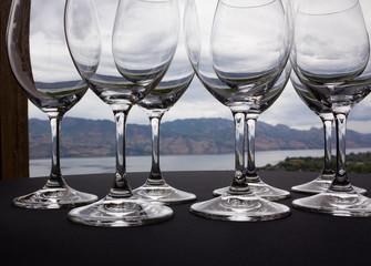 View through wineglasses.