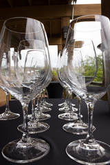Wineglasses all in a row.