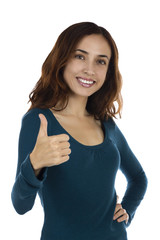 Smiling attractive woman thumb up
