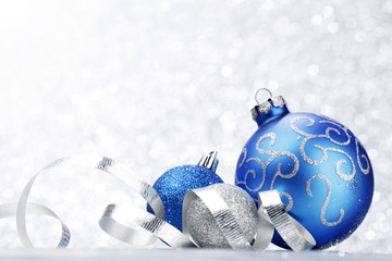 Glitter christmas balls and ribbon