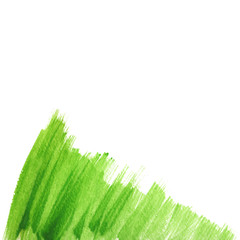 Abstract green watercolor background with paint strips