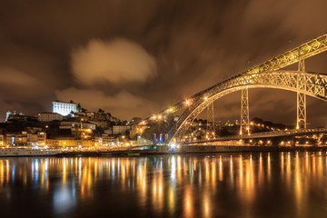 Panoramic night of Porto in Portugal