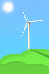 Picture of a wind generator on the blue sky background