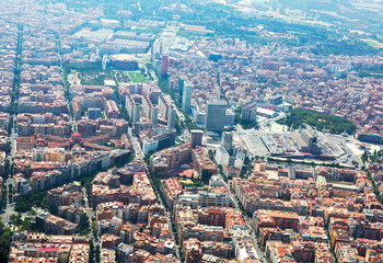 Aerial view of Barcelona with Sants station from helicopter