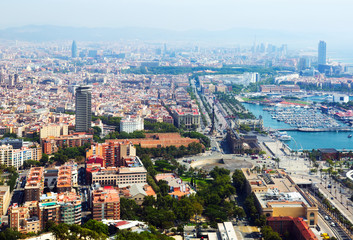 Barcelona with Port from helicopter. Catalonia