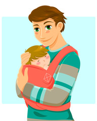 young man holding a baby in a baby carrier