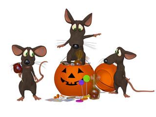 funny cartoon mouse celebrating Halloween