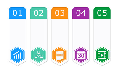 Set of colorful buttons for Web page menu with hexagon icons