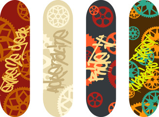 Vector skateboard design pack with graffiti tags and bike gears