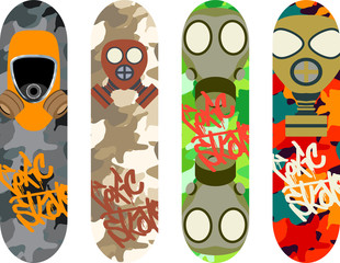 Vector skateboard design pack with gas masks