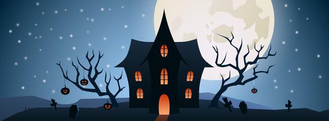 halloween illustration wit fullmoon