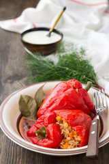 Peppers stuffed with rice and vegetables