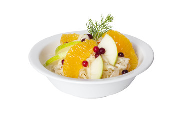 cabbage salad with apples, oranges and cranberries