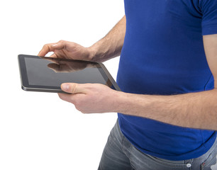 Manual worker holding digital tablet with space for your text