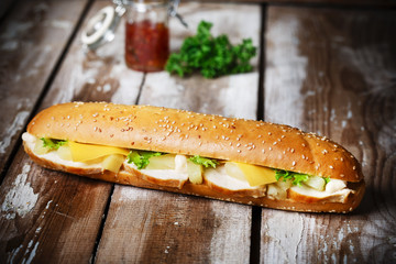 Sandwich with chicken pineapple and cheese