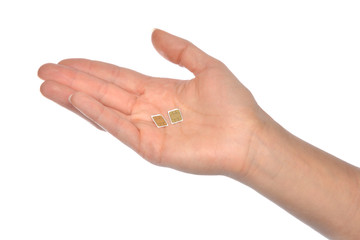Hand hold 2 nano SIM cards isolated