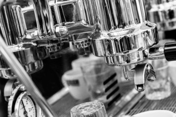 Detail of espresso machine