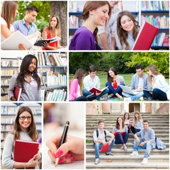 Young people studying at school, in a library and in a park