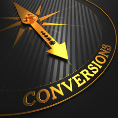 Conversions - Business Background. Golden Compass Needle.
