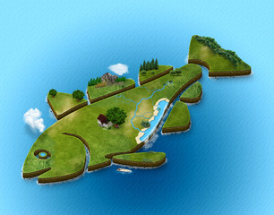 3d map isometric fish decorative