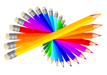 colored pencils, vector set