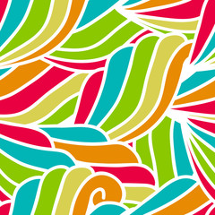 abstract hand-drawn waves pattern, seamless floral vector backgr