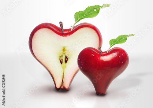 Red Apple heart love with slices two