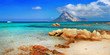Leinwanddruck Bild - Sardinia holidays, azure sea , island Tavolara, Italy
