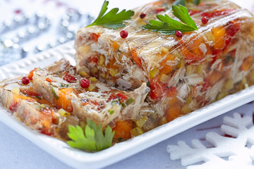 Rabbit galantine with vegetables