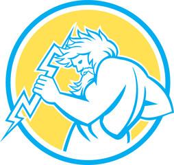 Zeus Wielding Thunderbolt Circle Retro