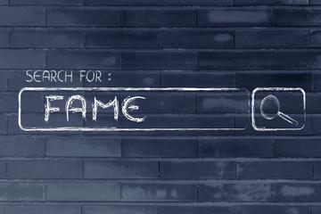 search engine bar, seeking fame