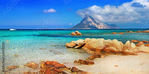 Leinwanddruck Bild Sardinia holidays, azure sea , island Tavolara, Italy