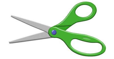 Green Open Scissors